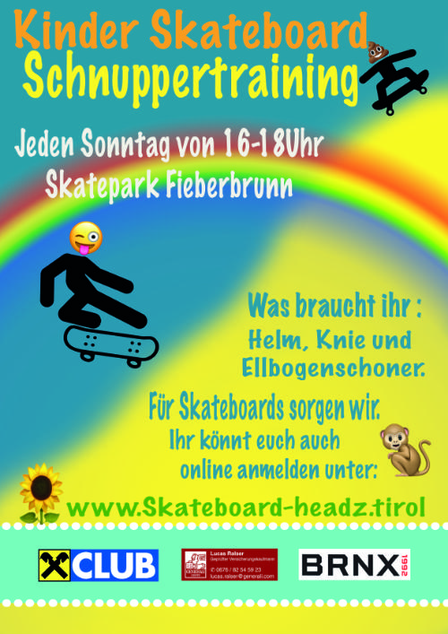 schnuppertraining skateboard headz tirol fieberbrunn